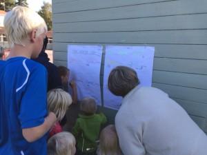 Ann hjälper grupperna att hålla koll på antal varv.